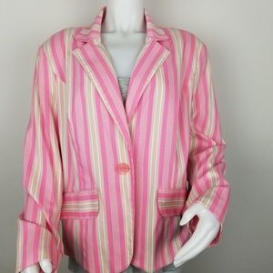 NY Collection Jackets & Coats - NY Collection Size X Pink Striped Blazer
